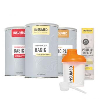 Produktabbildung Starterpaket – BASIC/BASIC PLUS Trinkmahlzeiten – INSUMED Shaker Small 300 ml – BESTFORM Protein-Riegel nach Verfügbarkeit